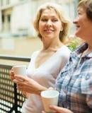 Thé de boissons de deux femmes sur le balcon Photographie stock libre de droits
