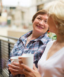 Thé de boissons de deux femmes sur le balcon Photos stock
