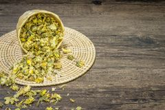 Thé de chrysanthème sur le fond en bois Images stock