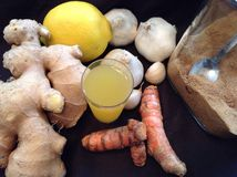 Thé de citron de Ginger Turmeric Garlic Photos stock