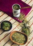 Thé de compagnon avec de diverses herbes, images libres de droits