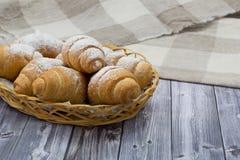 Thé de croissant Photographie stock libre de droits