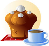thé de cuvette de gâteau Image stock