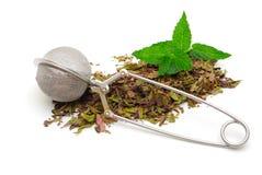 Thé de fines herbes avec l'infuser Image stock