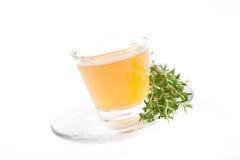 Thé de fines herbes frais de thym sur le fond blanc Photos stock