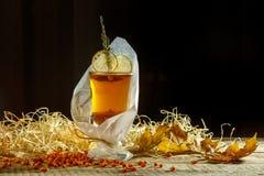 Thé de glace avec l'éclaboussure de citron Thé jaune chaud avec le citron et beaucoup SL Photos libres de droits