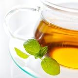 Thé de menthe fraîche dans la tasse en verre Photographie stock libre de droits