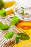 Thé de menthe fraîche dans la tasse en verre Photo stock