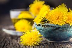 Thé de pissenlit Fleurs de pissenlit et tasses de thé jaunes Photo stock