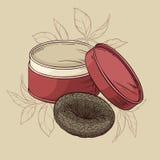 Thé de Puer sur le fond brun Illustration de Vecteur