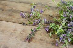 Thé de thym sur une table en bois Fleurs de thym en nature Le thym est utilisé généralement dans la cuisine et en phytothérapie photo libre de droits