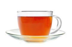 Thé en verre de cuvette d'isolement sur le blanc Image libre de droits