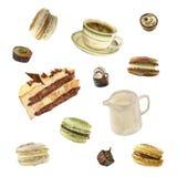 Thé et dessert d'aquarelle Images libres de droits