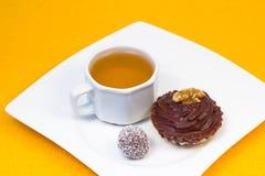 Thé et dessert de bonbon Images libres de droits