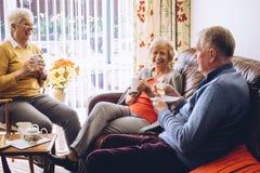 Thé et gâteau à la maison de soin Image stock