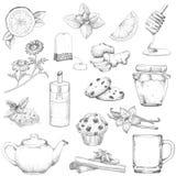 Thé et illustration de vecteur réglée par pâtisseries illustration stock