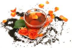 Thé et roses Photo stock