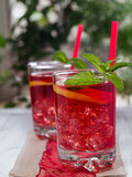Thé glacé avec des parts de citron Images stock