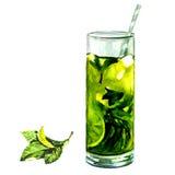 Thé glacé avec le citron et la menthe illustration stock