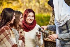 Thé heureux de femmes en parc Images libres de droits