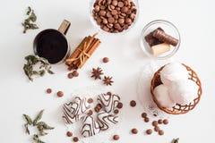 Thé noir avec les biscuits et la cannelle sur un fond en bois blanc Images stock