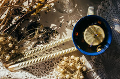 Thé noir avec les fleurs bleues, la peau d'orange et les pétales dans le bleu et Photo stock