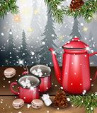 Thé noir dans des tasses rouges sur les illustrations réalistes de vecteur de fond d'hiver Photographie stock
