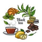 Thé noir Une tasse de thé, une boisson chaude Embranchez-vous avec des feuilles, le citron, un morceau de citron, croissant, maca illustration de vecteur