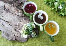 Thé noir, vert et fruité sur un fond des textiles verts, un bouquet des fleurs Photographie stock libre de droits