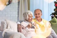 Thé potable de couples supérieurs Images stock