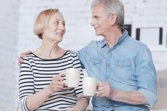 Thé potable de couples supérieurs adorables à la maison Image libre de droits