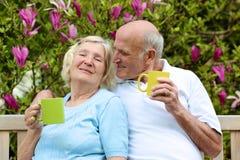 Thé potable de couples supérieurs affectueux dans le jardin Photographie stock libre de droits