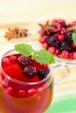 thé proche de pousse de fruit de cuvette vers le haut Photo stock