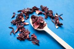Thé rouge sec de ketmie dans la cuillère en bois photographie stock libre de droits