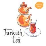 Thé turc avec la bouilloire turque illustration de vecteur