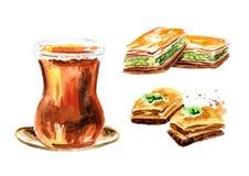 Thé turc dans l'ensemble traditionnel en verre et de baklava Illustration tirée par la main d'aquarelle, d'isolement sur le fond  Photos stock
