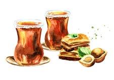 Thé turc en verre et baklava traditionnels avec la noisette Illustration tirée par la main d'aquarelle, d'isolement sur le fond b Photo libre de droits