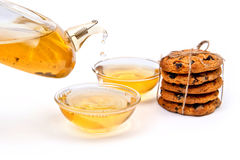 Thé vert avec des biscuits photographie stock