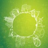 Thé vert avec des griffonnages d'écologie de cercle Éléments esquissés d'eco avec la tasse de thé vert illustration stock