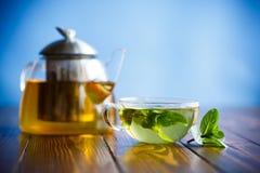 Thé vert chaud avec la menthe fraîche photo libre de droits