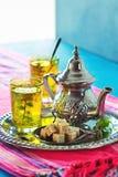 Thé vert de menthe chaude de Marocain Photos stock