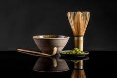 Thé vert en poudre par amende de Matcha Photographie stock libre de droits