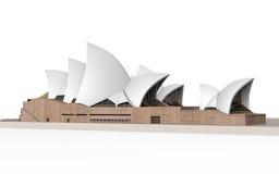 Théatre de l'opéra de Sydney d'isolement sur le fond blanc Photos stock