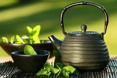 Théière asiatique noire avec du thé en bon état Photographie stock
