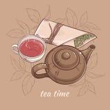 Théière avec la tasse de thé Illustration de Vecteur