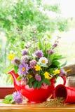 Théière avec le bouquet des herbes curatives et des fleurs image libre de droits