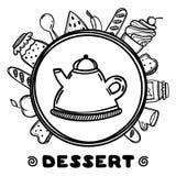 Théière de bande dessinée avec la nourriture sur le fond blanc Illustration tirée par la main Temps de dessert Photo stock