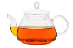 Théière en verre avec du thé Photographie stock libre de droits