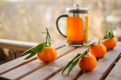 Théière en verre avec l'orangeade et les mandarines photographie stock