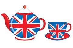 Théière et tasse de thé de vecteur décorées de la copie britannique de drapeau illustration de vecteur